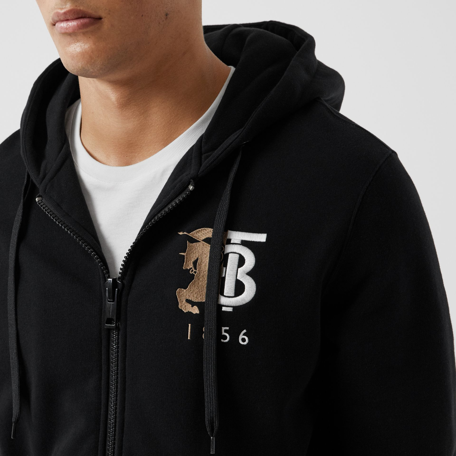Contrast Logo Graphic Cotton Hooded Top in Black - Men | Burberry - gallery image 1
