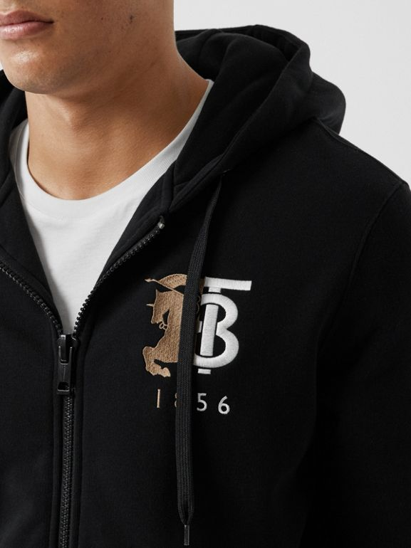 Contrast Logo Graphic Cotton Hooded Top in Black - Men | Burberry United Kingdom - cell image 1