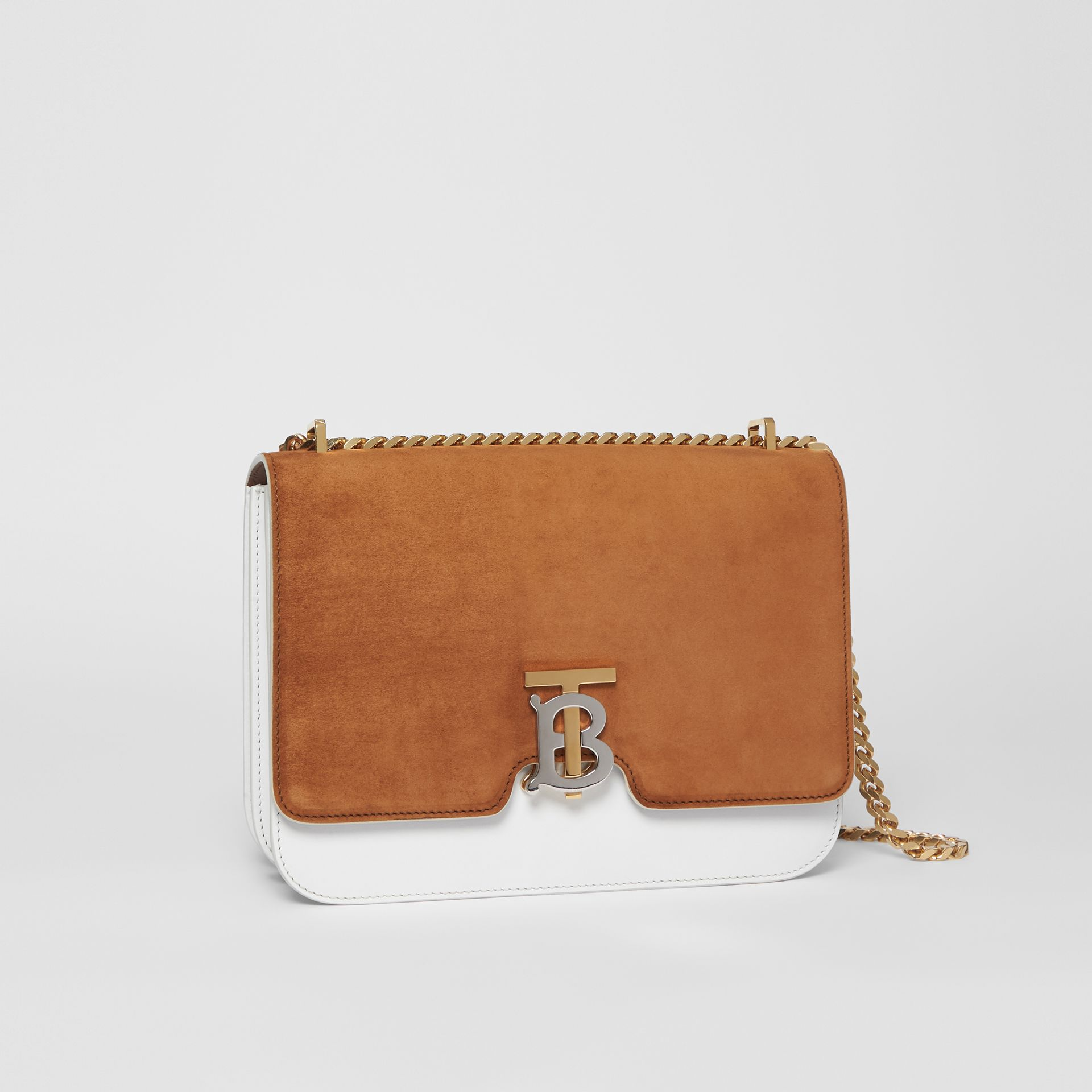 Medium Two-tone Leather and Suede TB Bag in White/brown - Women | Burberry - gallery image 6