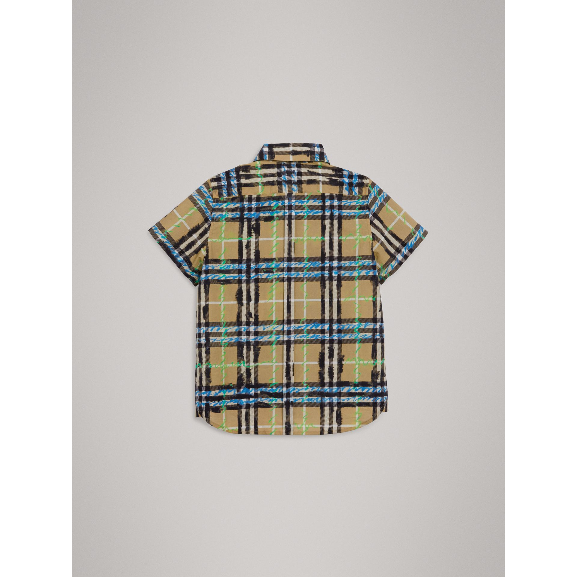 Short-sleeve Scribble Check Cotton Shirt in Bright Blue - Boy | Burberry - gallery image 3