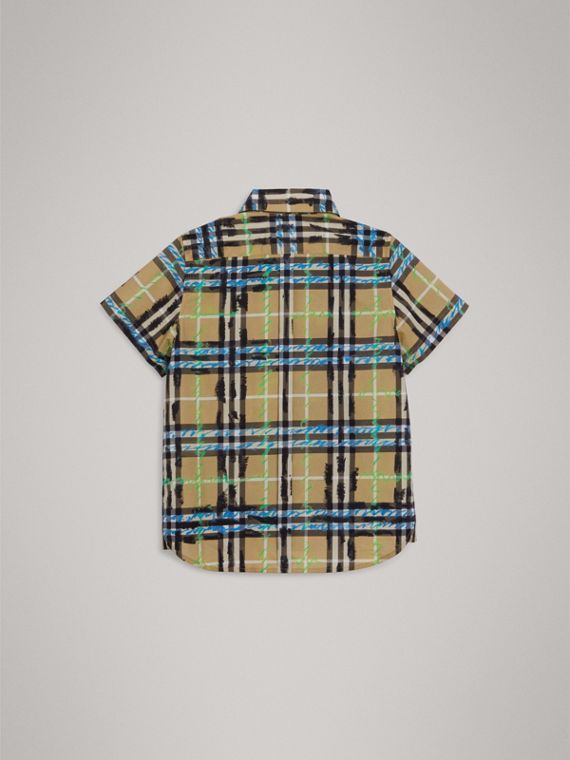 Short-sleeve Scribble Check Cotton Shirt in Bright Blue - Boy | Burberry - cell image 3