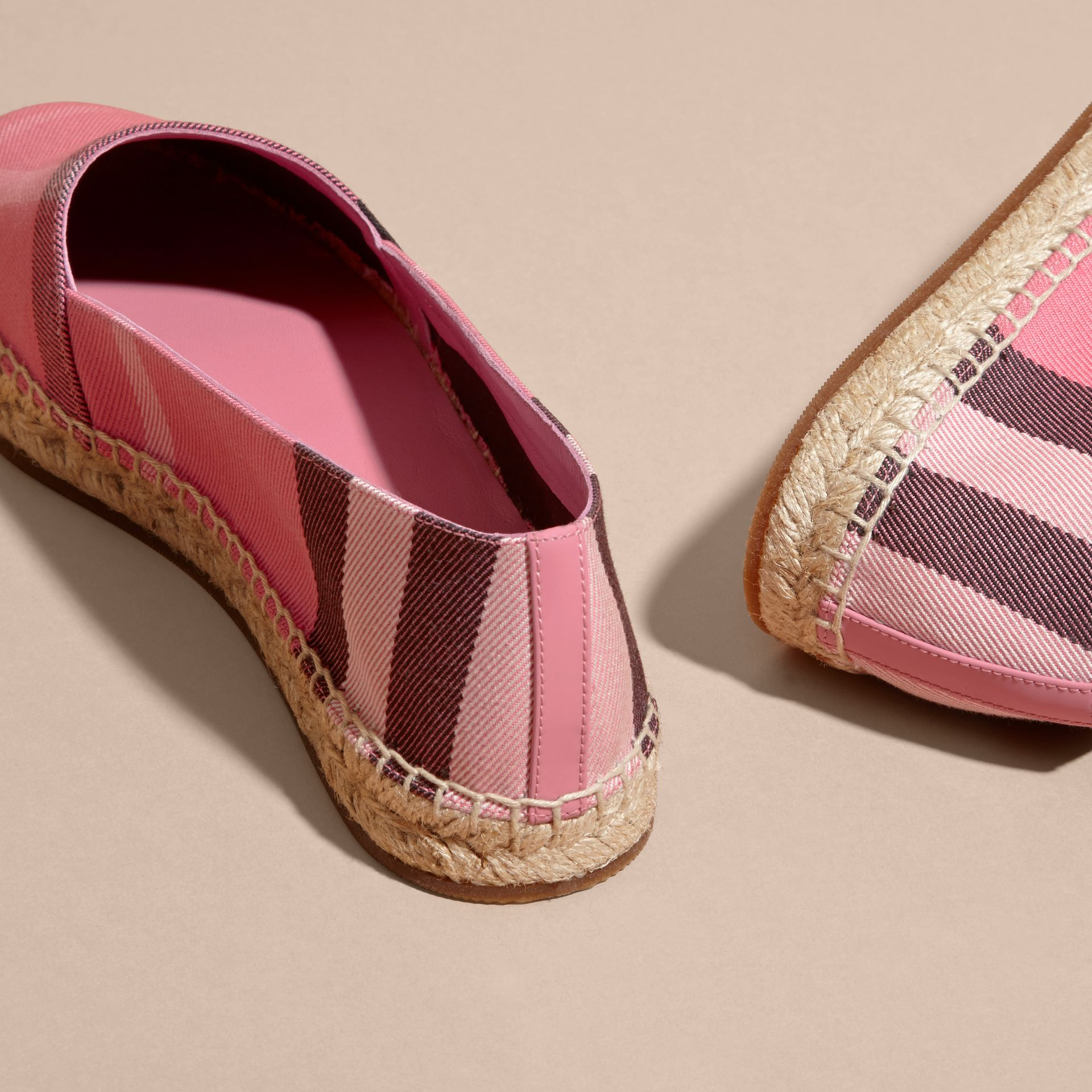 Leather Trim Canvas Check Espadrilles Rose Pink - gallery image 4