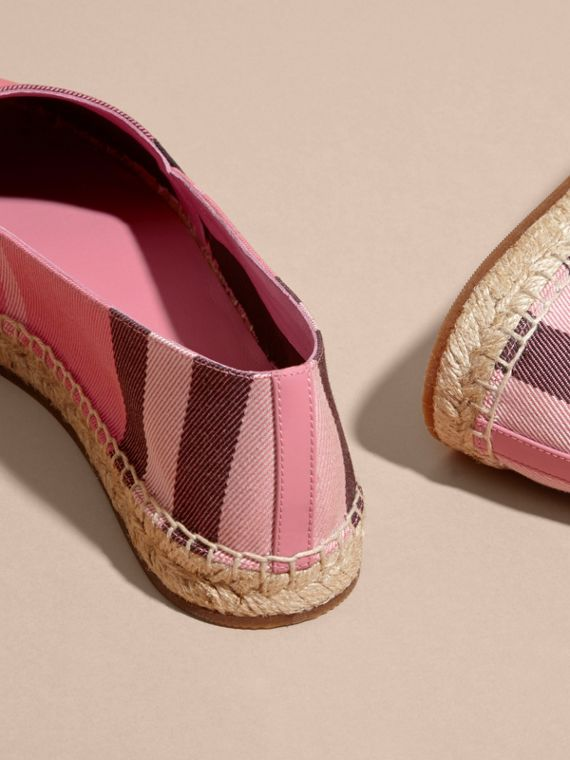 Leather Trim Canvas Check Espadrilles Rose Pink - cell image 3