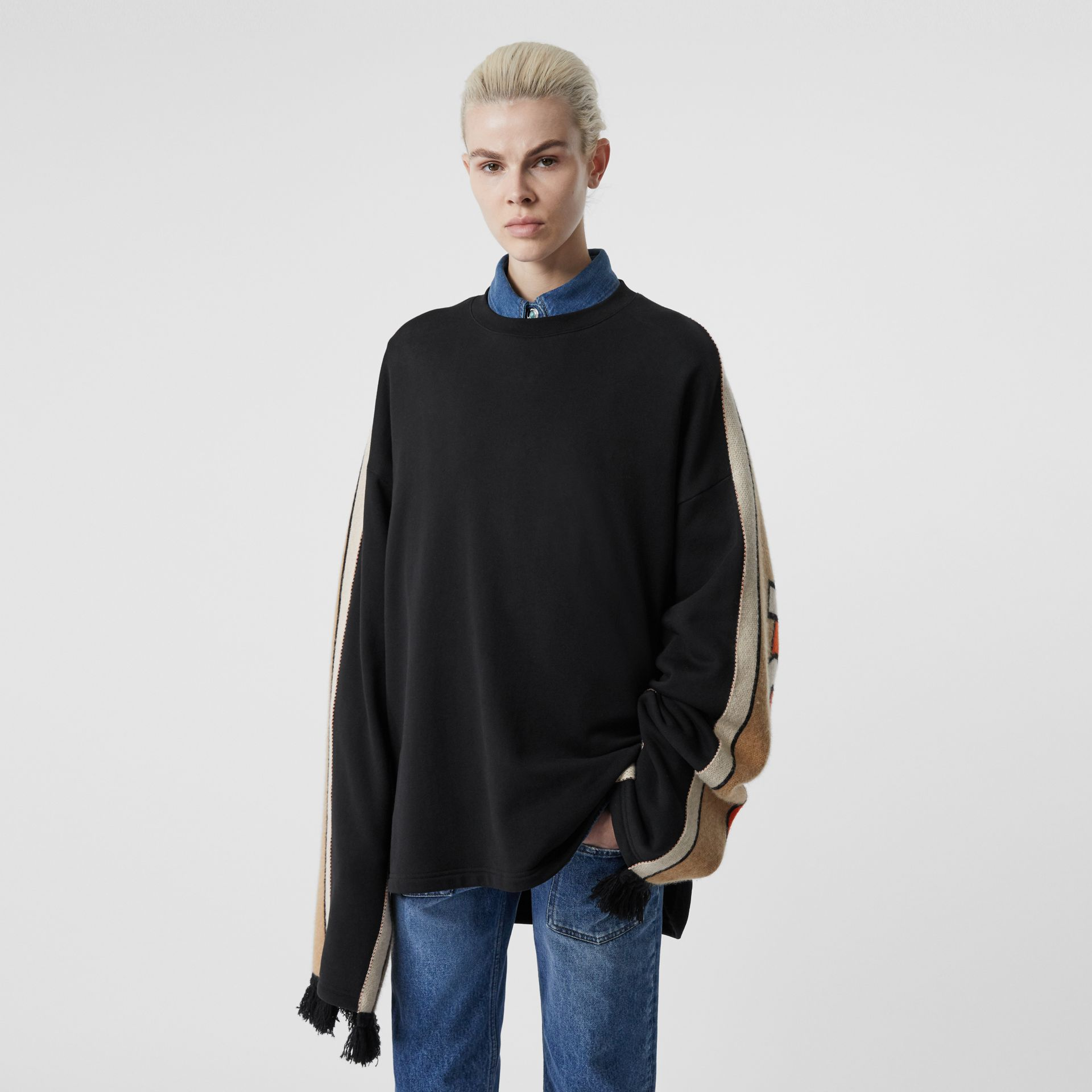 Contrast Sleeve Cotton Oversized Top in Black - Women | Burberry - gallery image 2