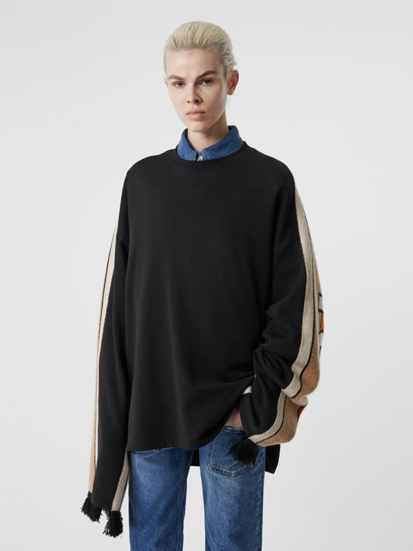 Contrast Sleeve Cotton Oversized Top in Black - Women | Burberry United Kingdom - cell image 2
