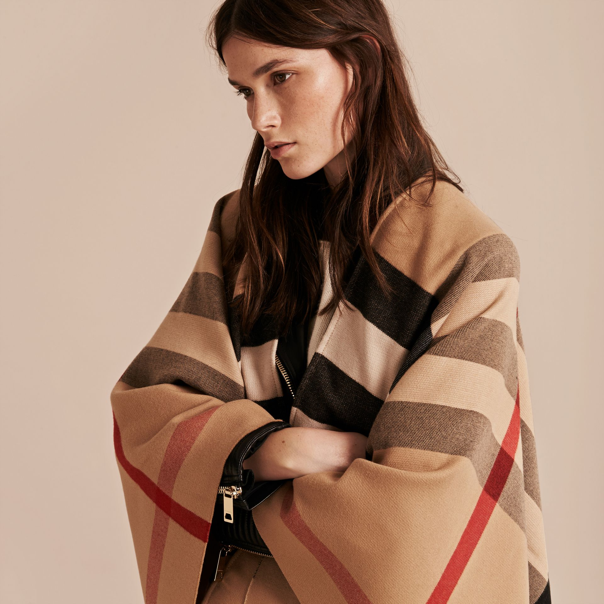 Check Wool Poncho in Camel - Women | Burberry Singapore - gallery image 2
