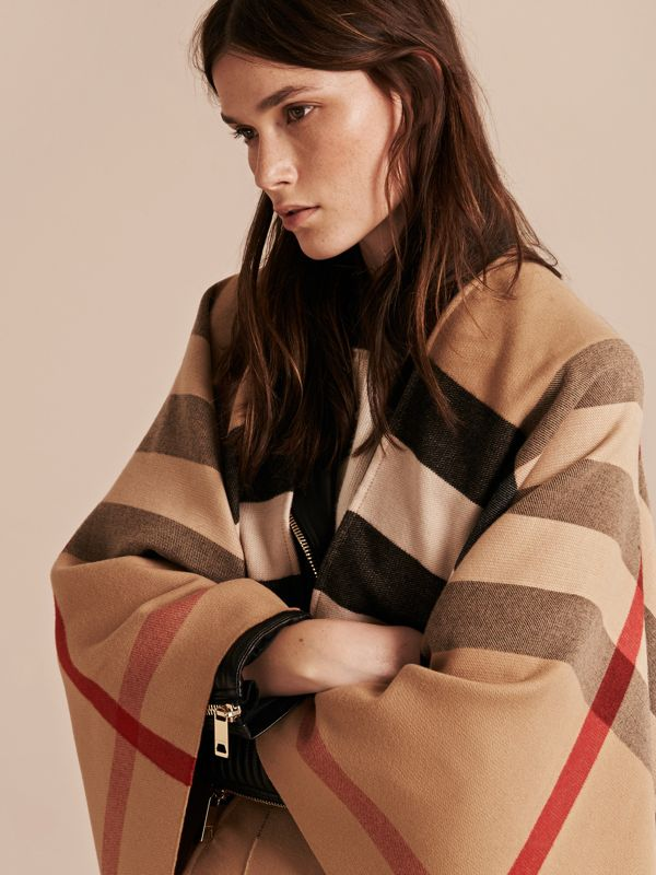 Check Wool Poncho in Camel - Women | Burberry - cell image 2