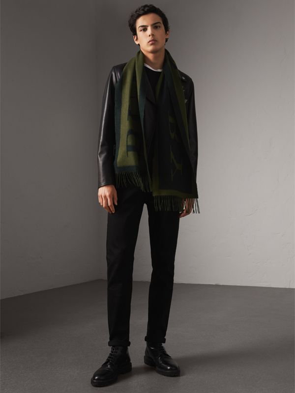 Emblem Print Cashmere Scarf in Olive | Burberry - cell image 2
