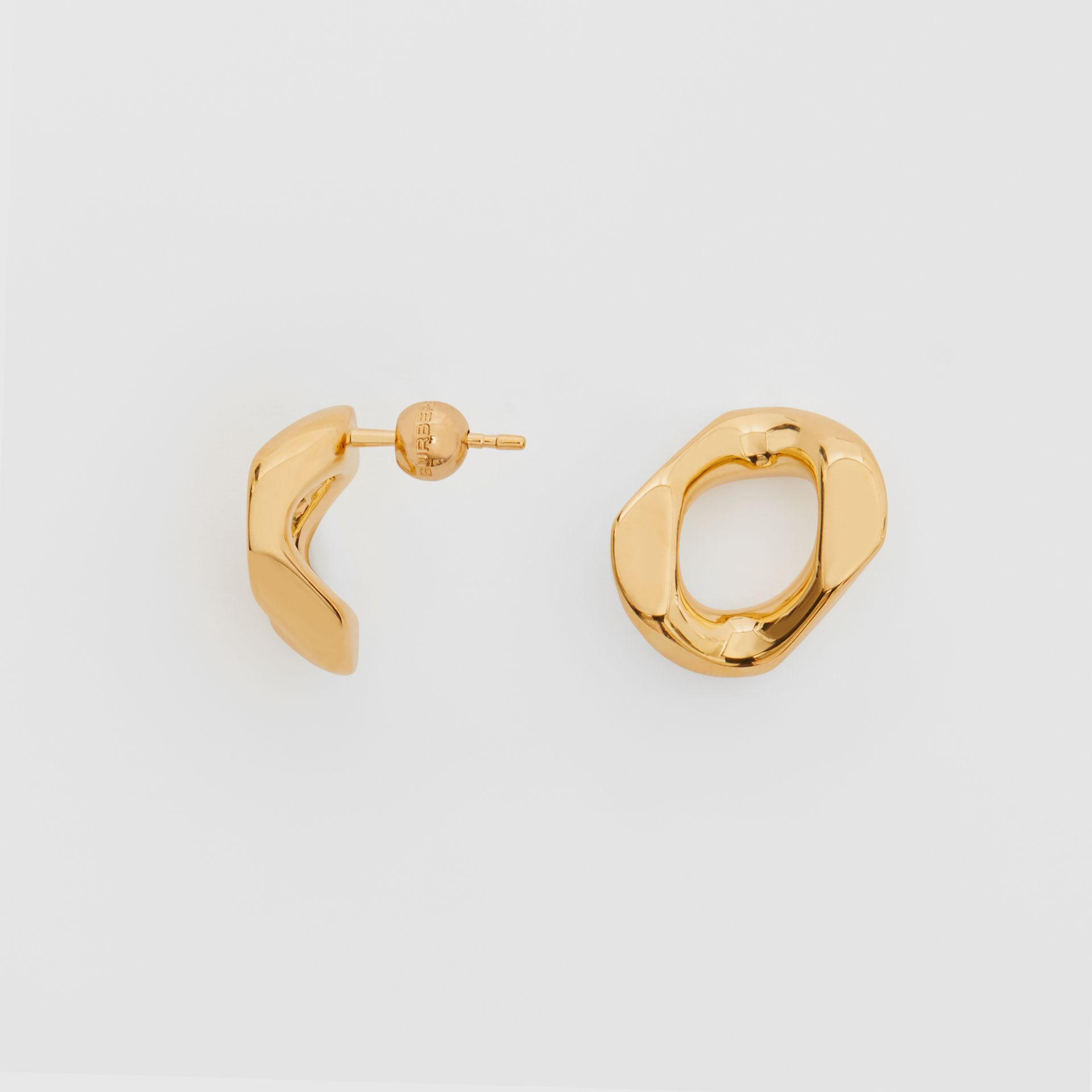 Small Gold-plated Chain Link Earrings in Light - Women | Burberry - gallery image 3