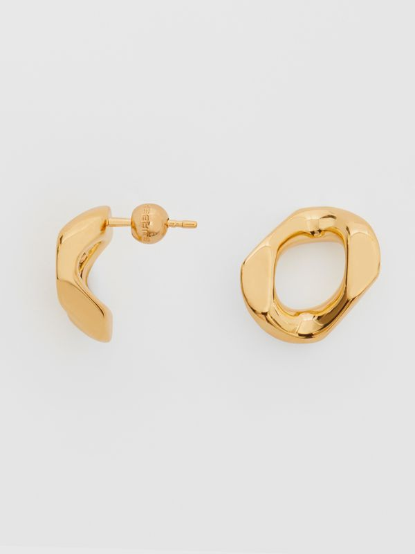 Small Gold-plated Chain Link Earrings in Light - Women | Burberry - cell image 3