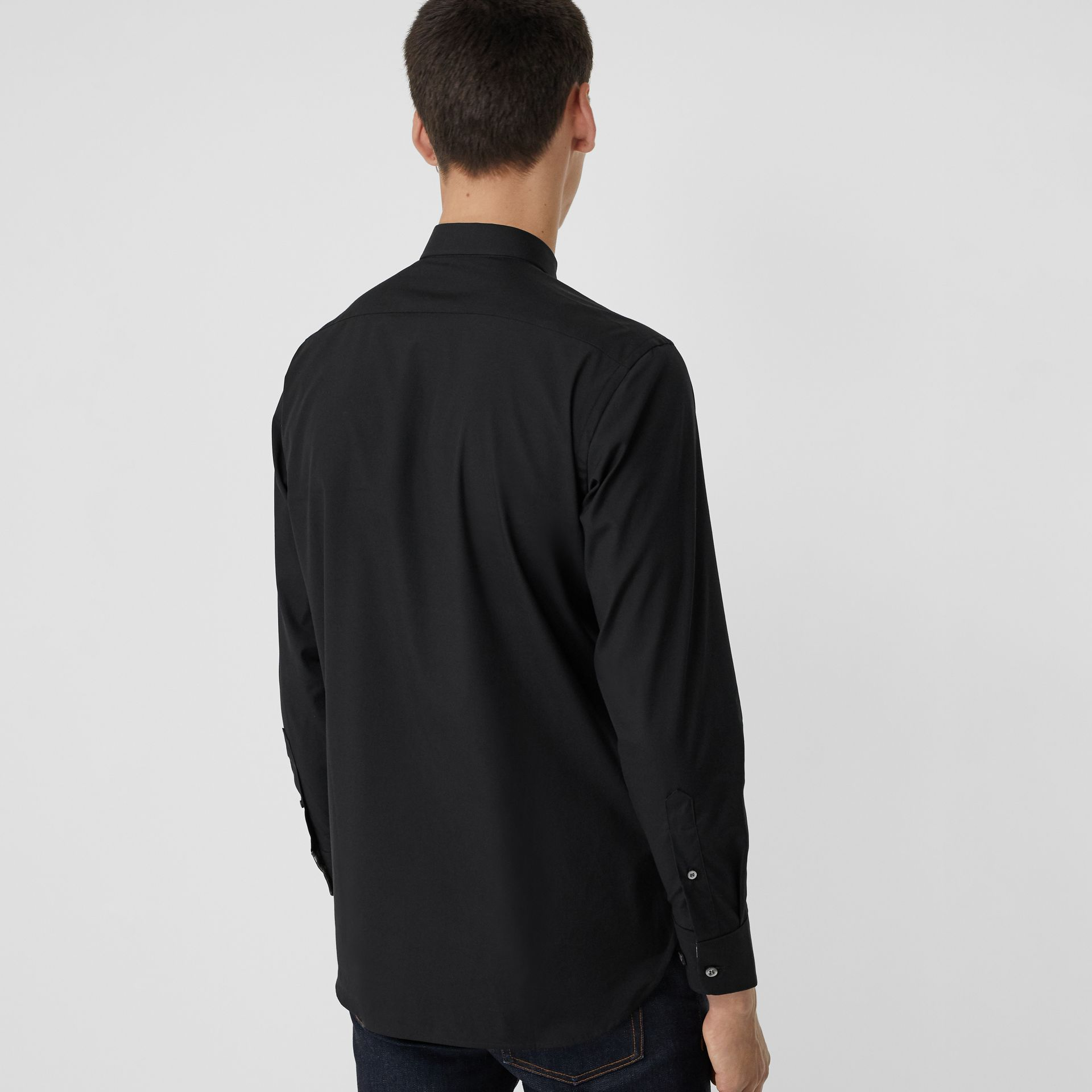 Check Cuff Stretch Cotton Poplin Shirt in Black - Men | Burberry - gallery image 2