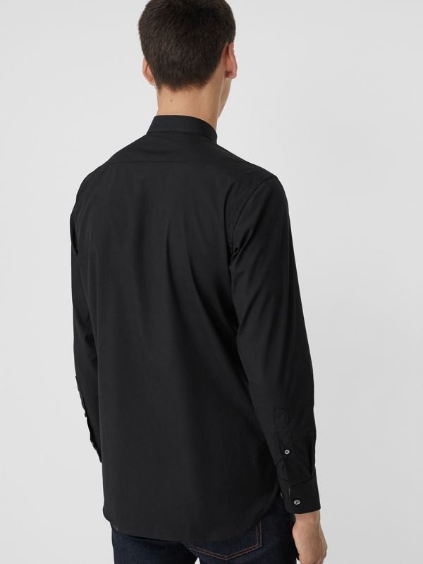 Check Cuff Stretch Cotton Poplin Shirt in Black - Men | Burberry Australia - cell image 2