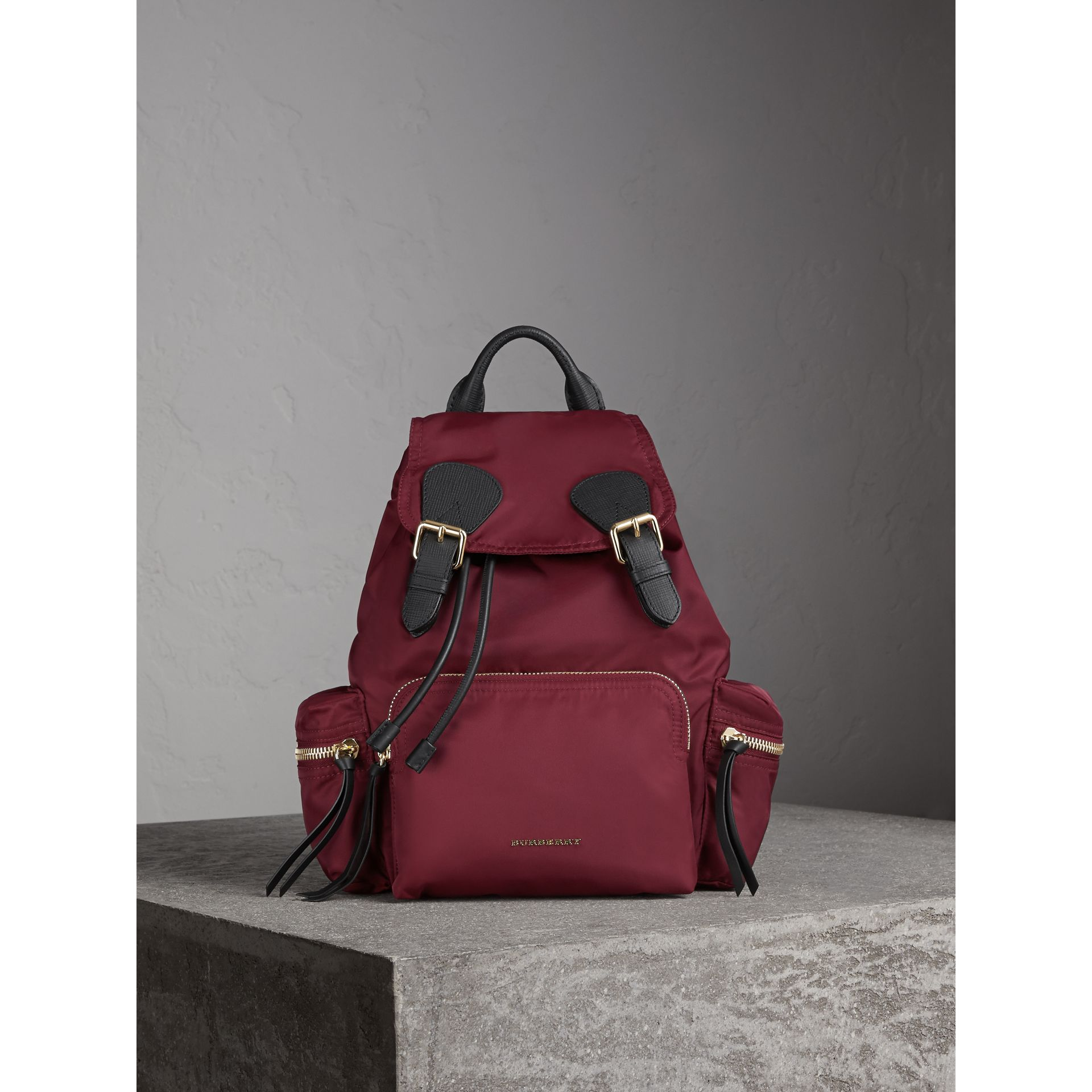The Medium Rucksack in Technical Nylon and Leather in Burgundy Red - gallery image 3