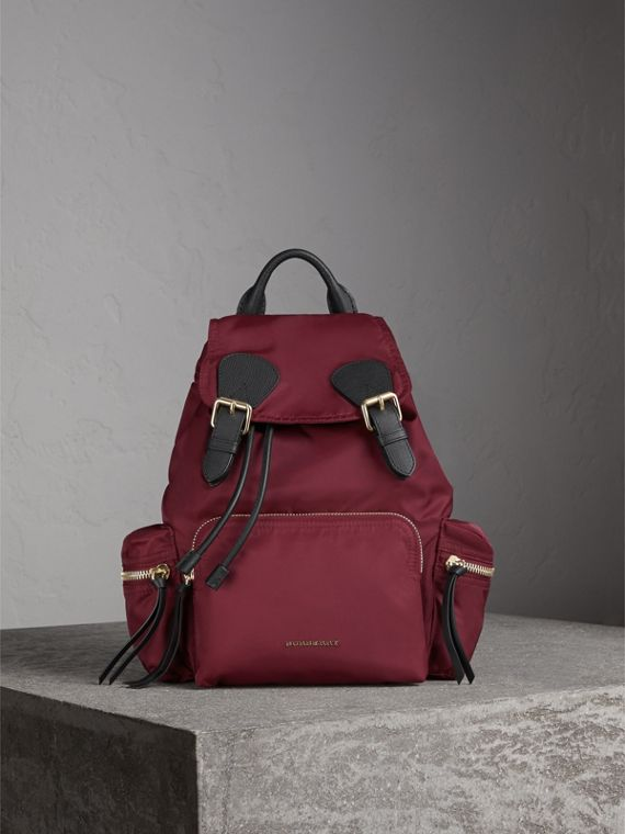The Medium Rucksack in Technical Nylon and Leather in Burgundy Red - cell image 2