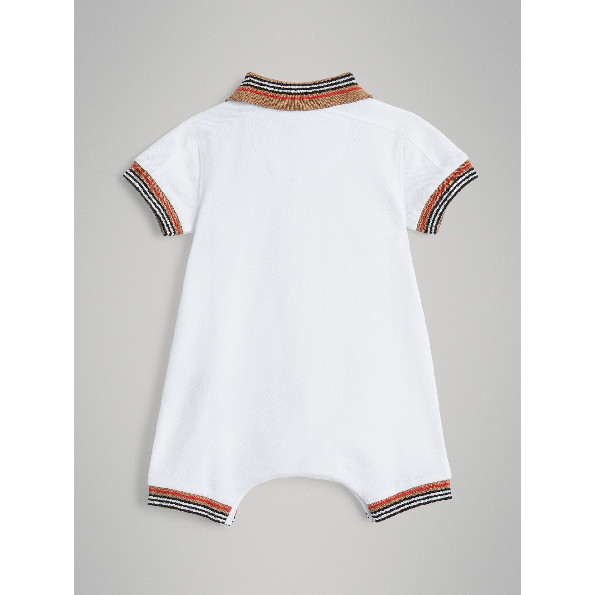 Heritage Stripe Cotton Piqué Two-piece Baby Gift Set in White - Children | Burberry Australia - gallery image 3