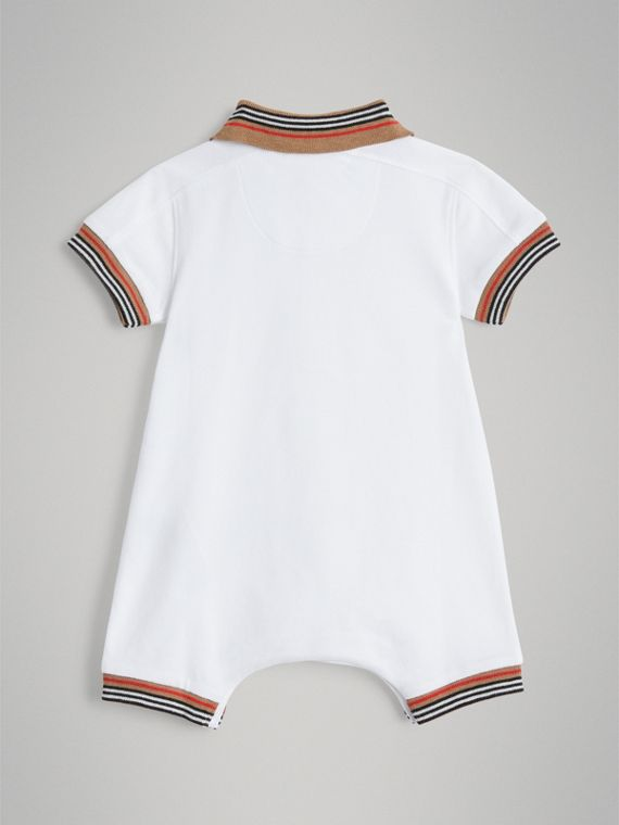 Heritage Stripe Cotton Piqué Two-piece Baby Gift Set in White | Burberry - cell image 3