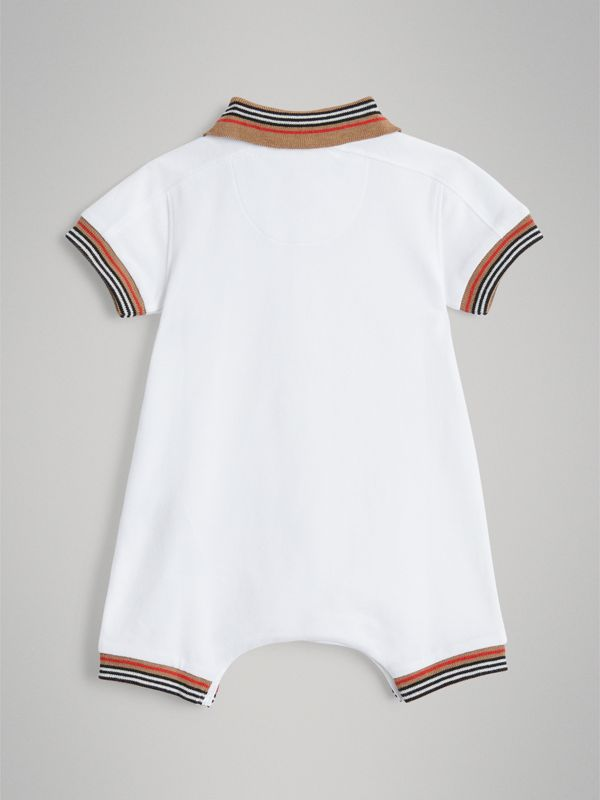 Heritage Stripe Cotton Piqué Two-piece Baby Gift Set in White - Children | Burberry Australia - cell image 3
