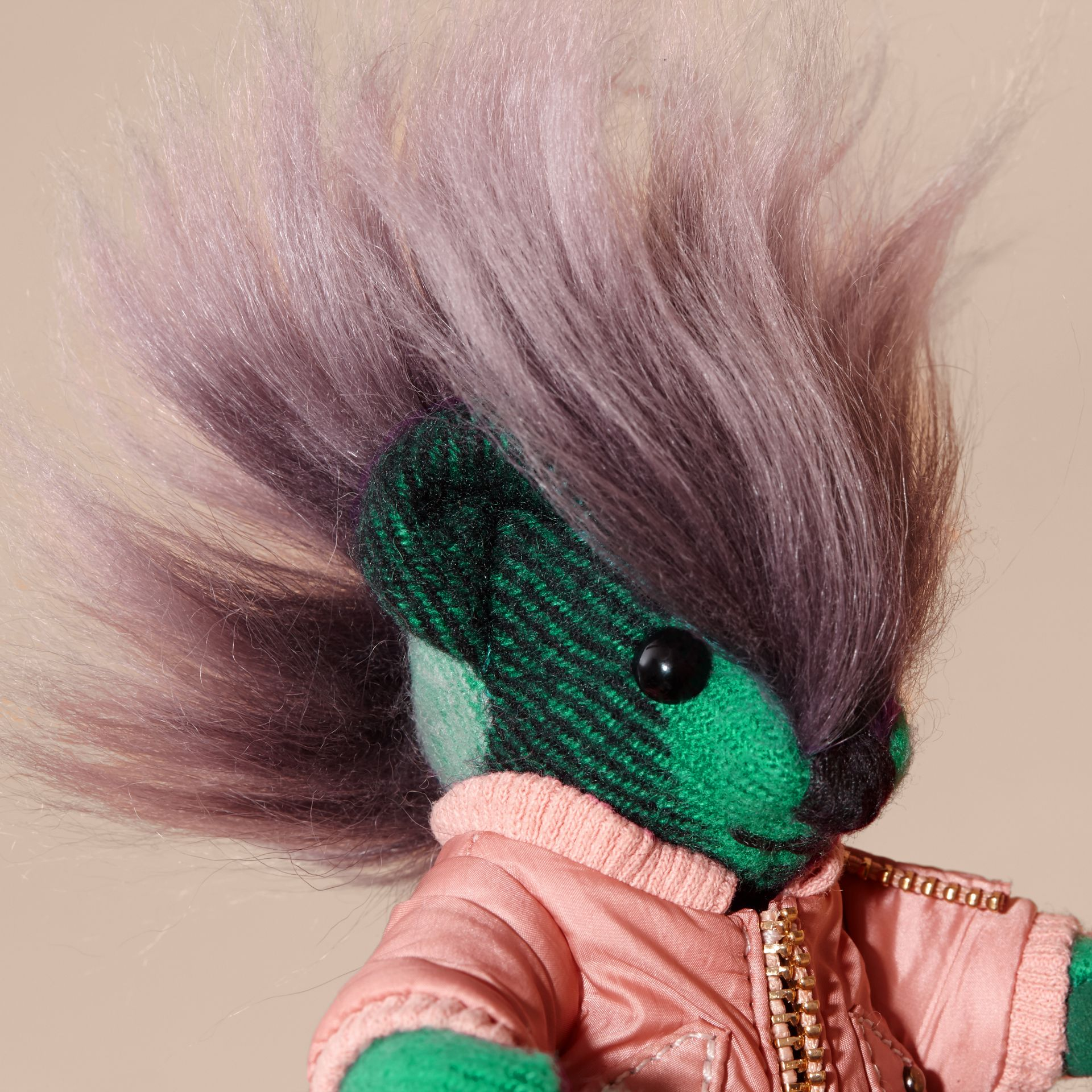Thomas Bear Charm with Shearling and Pallas Heads Appliqué Bomber Emerald Green - gallery image 2