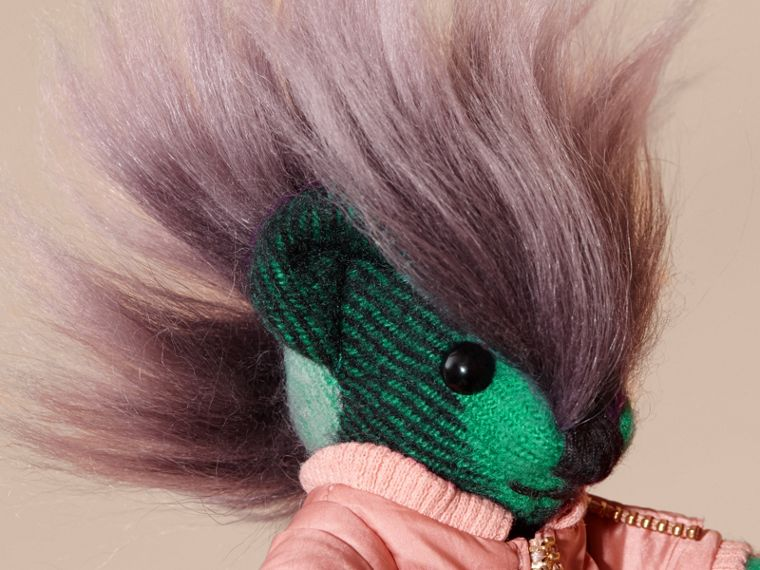 Thomas Bear Charm with Shearling and Pallas Heads Appliqué Bomber Emerald Green - cell image 1