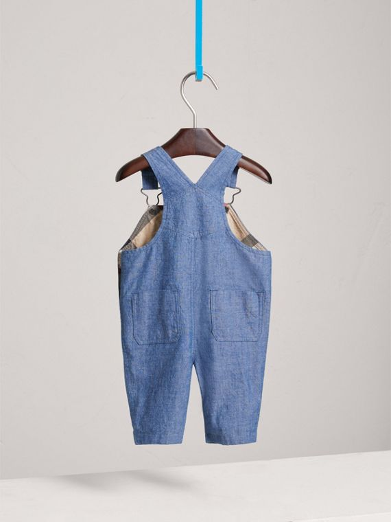 Japanese Denim Dungarees in Stone Blue | Burberry Singapore - cell image 3