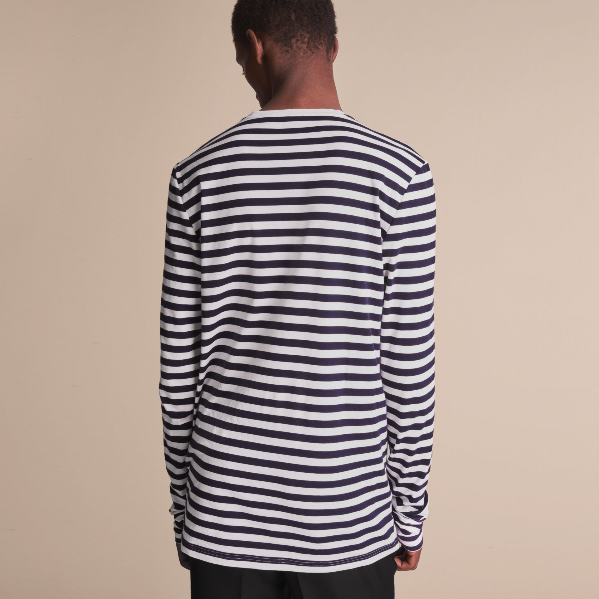 Unisex Pallas Helmet Motif Breton Stripe Cotton Top in Indigo - Men | Burberry - gallery image 5