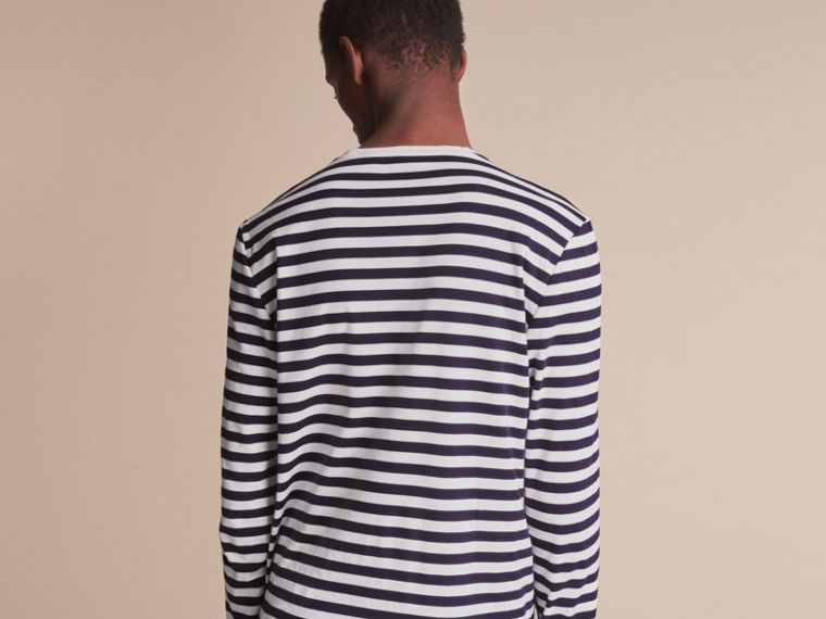Unisex Pallas Helmet Motif Breton Stripe Cotton Top in Indigo - Men | Burberry - cell image 4