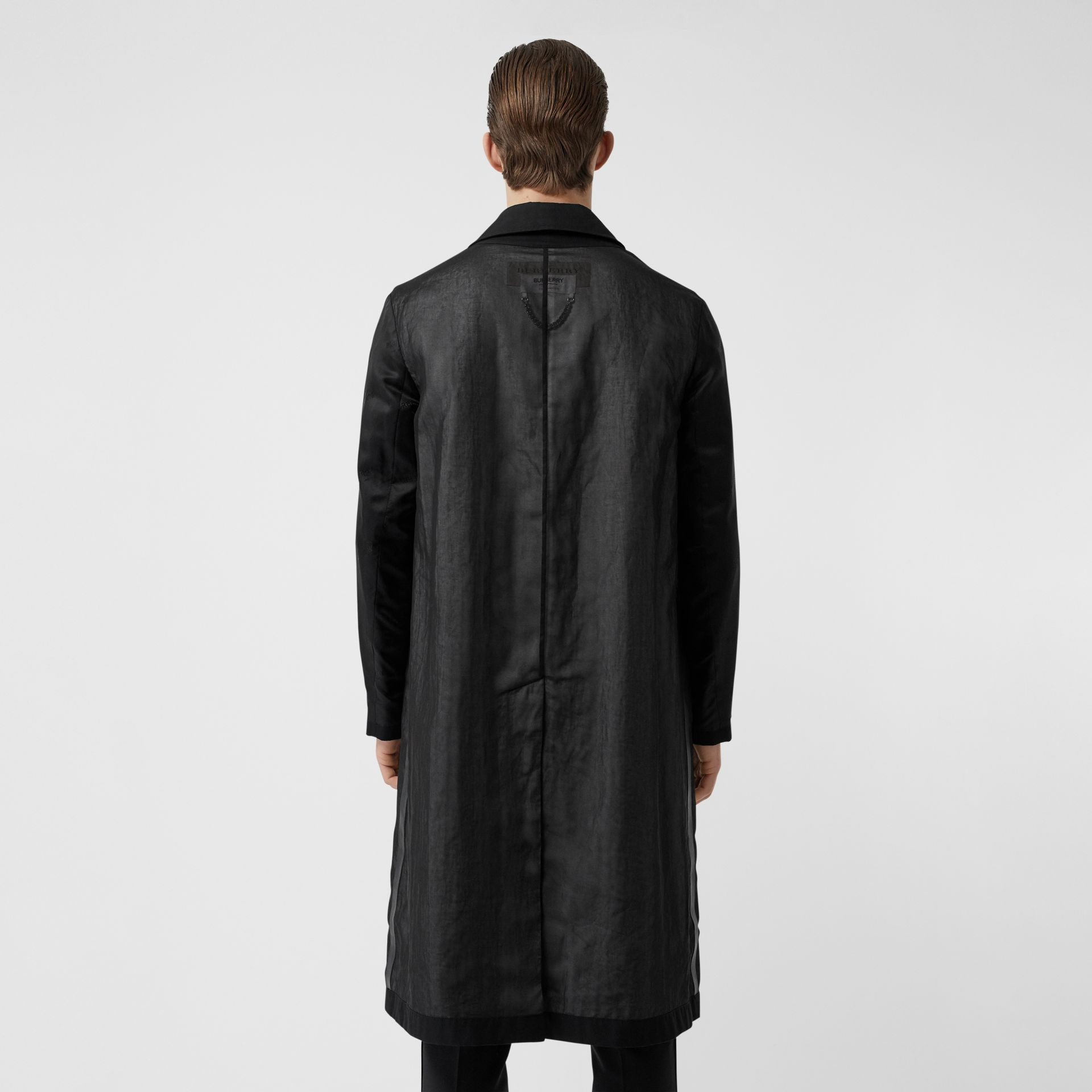 Logo Detail Panelled Cotton Gabardine Car Coat in Black - Men | Burberry - gallery image 2