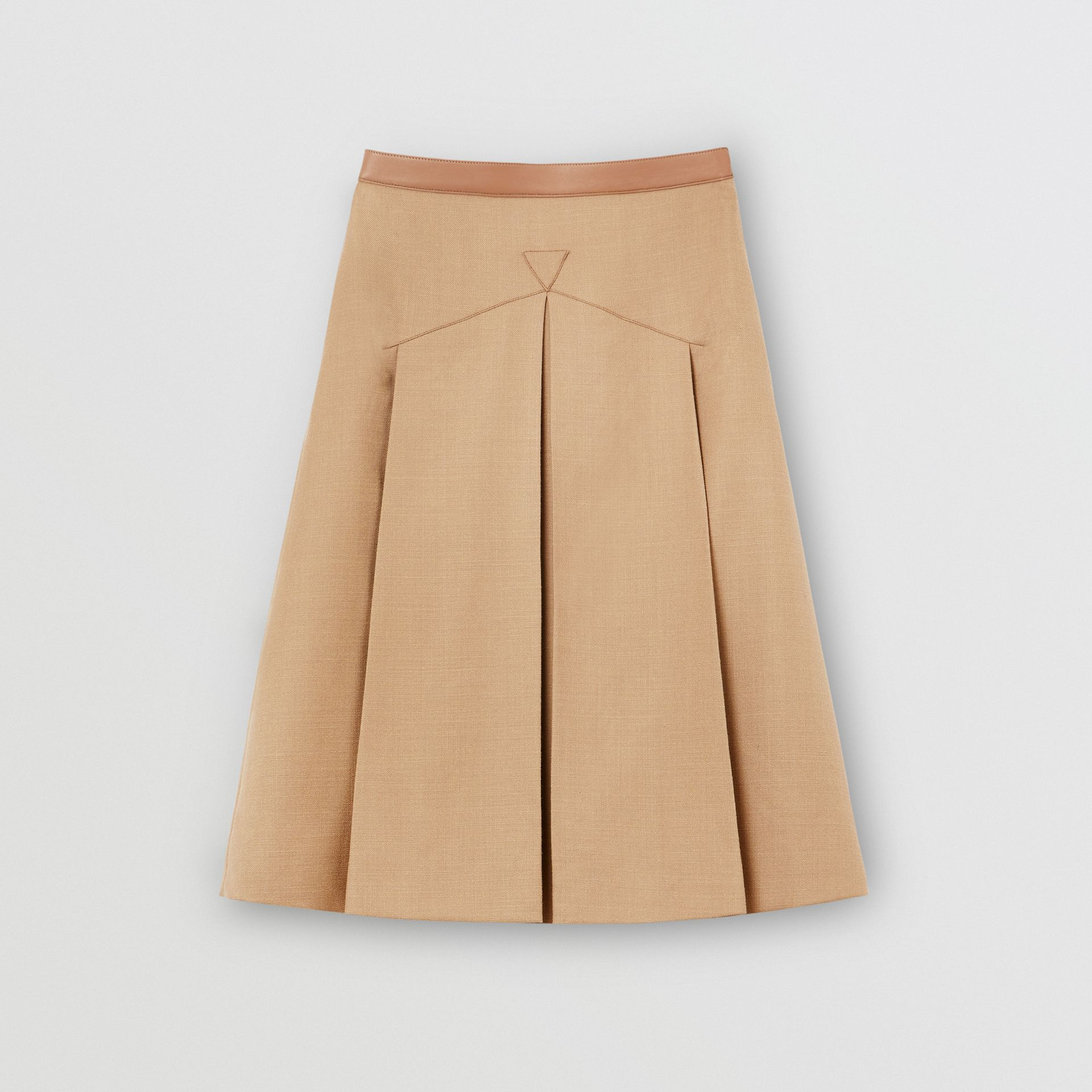 Lambskin Trim Box-pleated Wool Silk Skirt in Camel - Women | Burberry Canada - gallery image 3