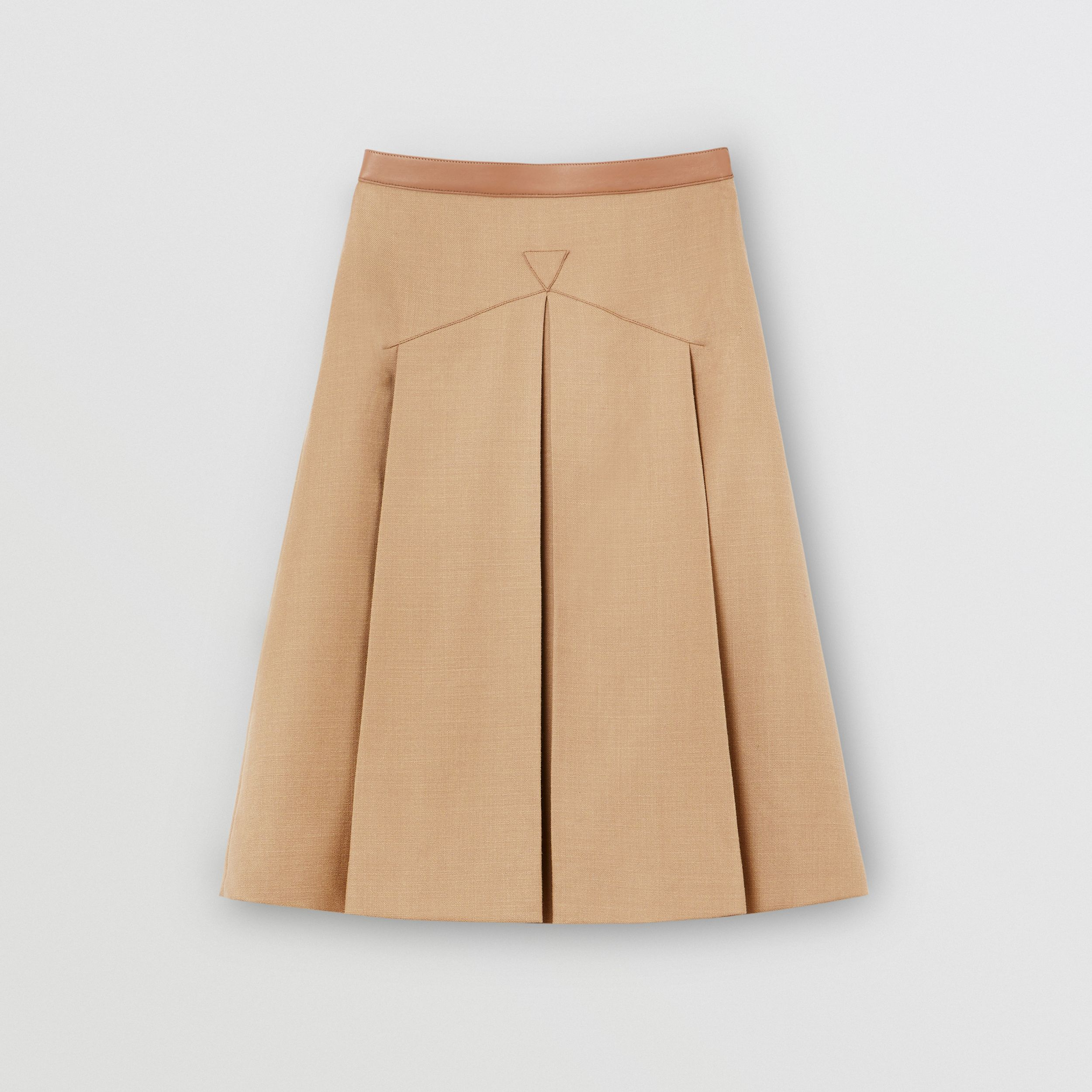 Lambskin Trim Box-pleated Wool Silk Skirt in Camel - Women | Burberry Australia - 4