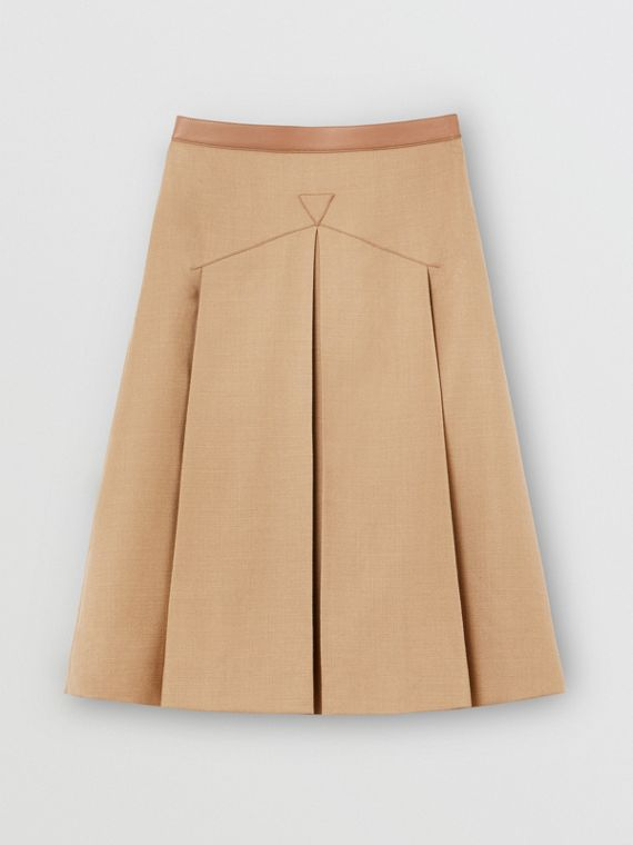 Lambskin Trim Box-pleated Wool Silk Skirt in Camel