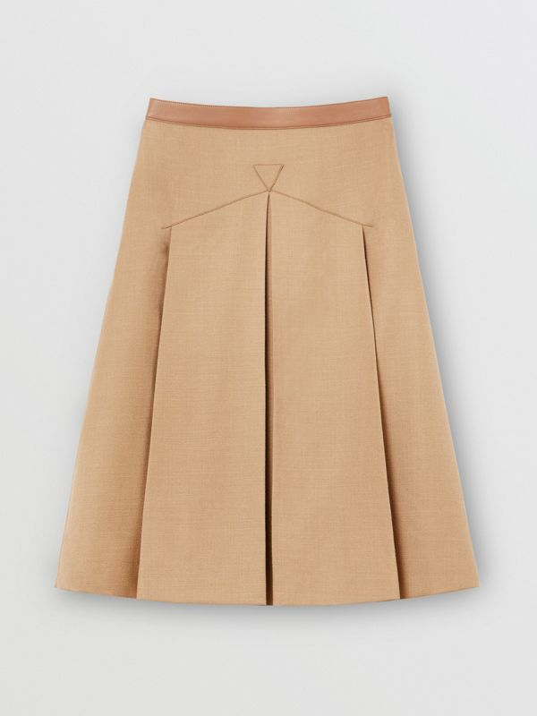 Lambskin Trim Box-pleated Wool Silk Skirt in Camel - Women | Burberry Canada - cell image 3