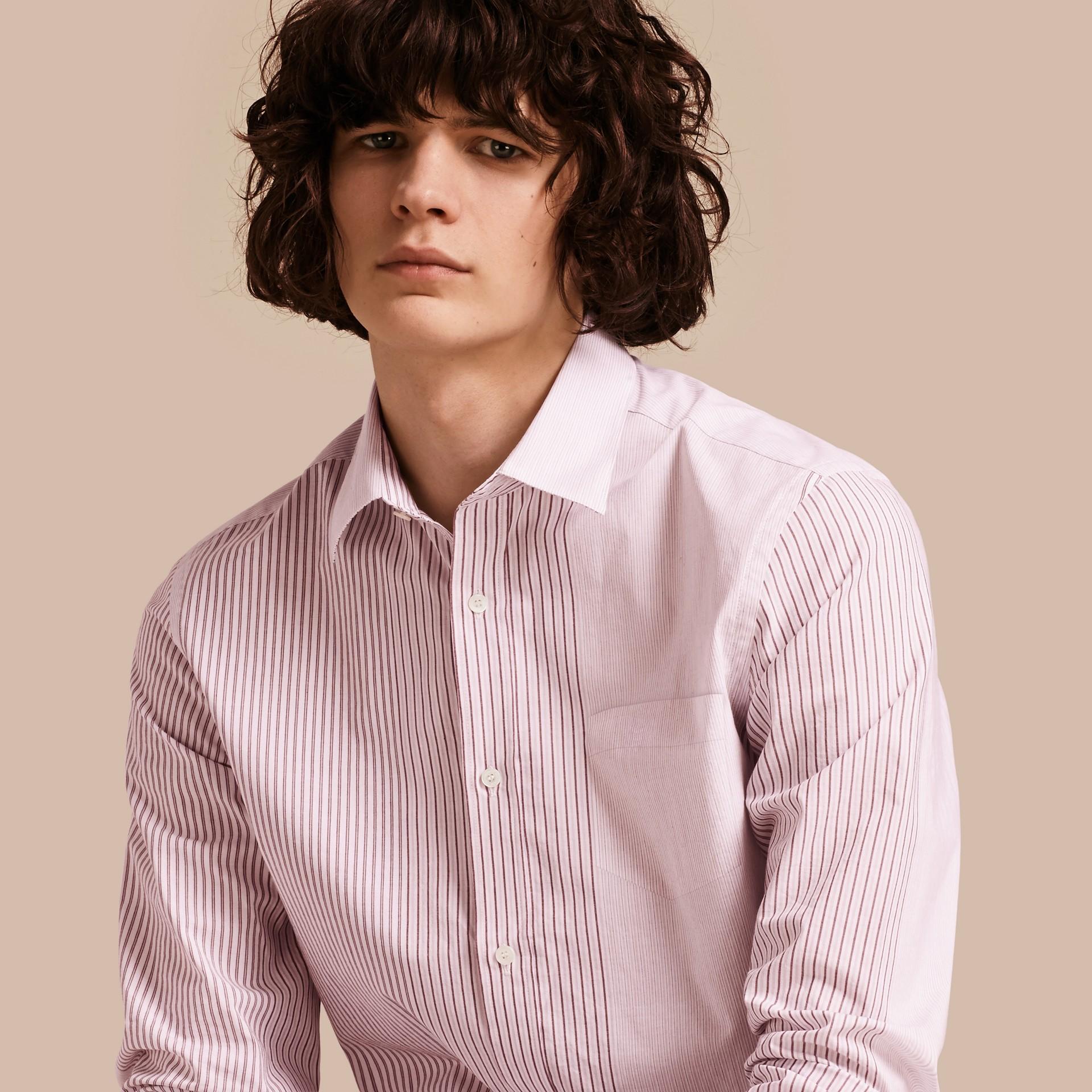 Panelled Stripe Cotton Shirt Rose Pink - gallery image 1