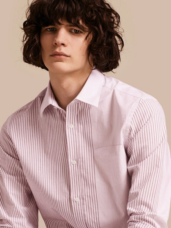 Panelled Stripe Cotton Shirt