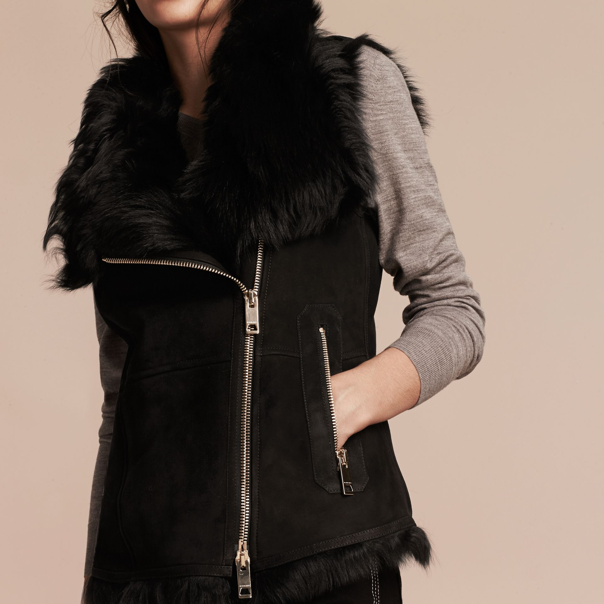 Black Shearling Gilet Black - gallery image 6