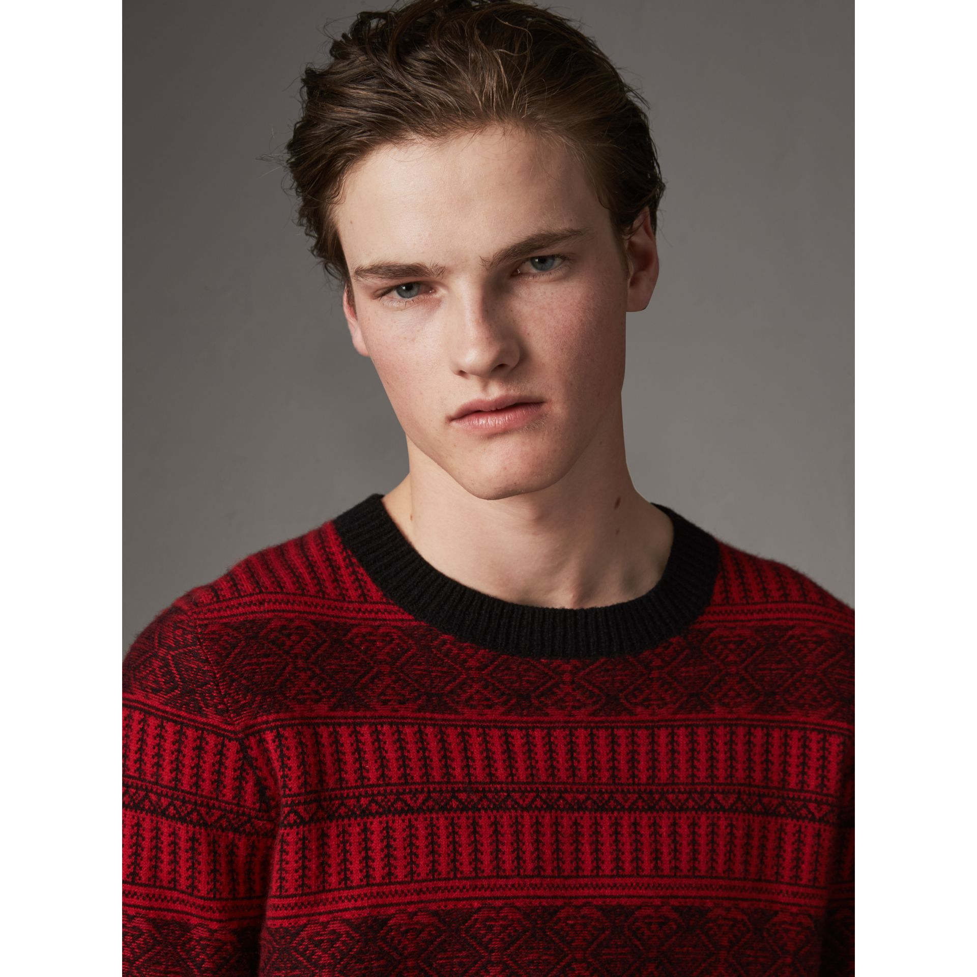 Fair Isle Wool Cashmere Sweater in Military Red - Men | Burberry - gallery image 1