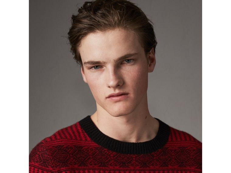 Fair Isle Wool Cashmere Sweater in Military Red - Men | Burberry Australia - cell image 1