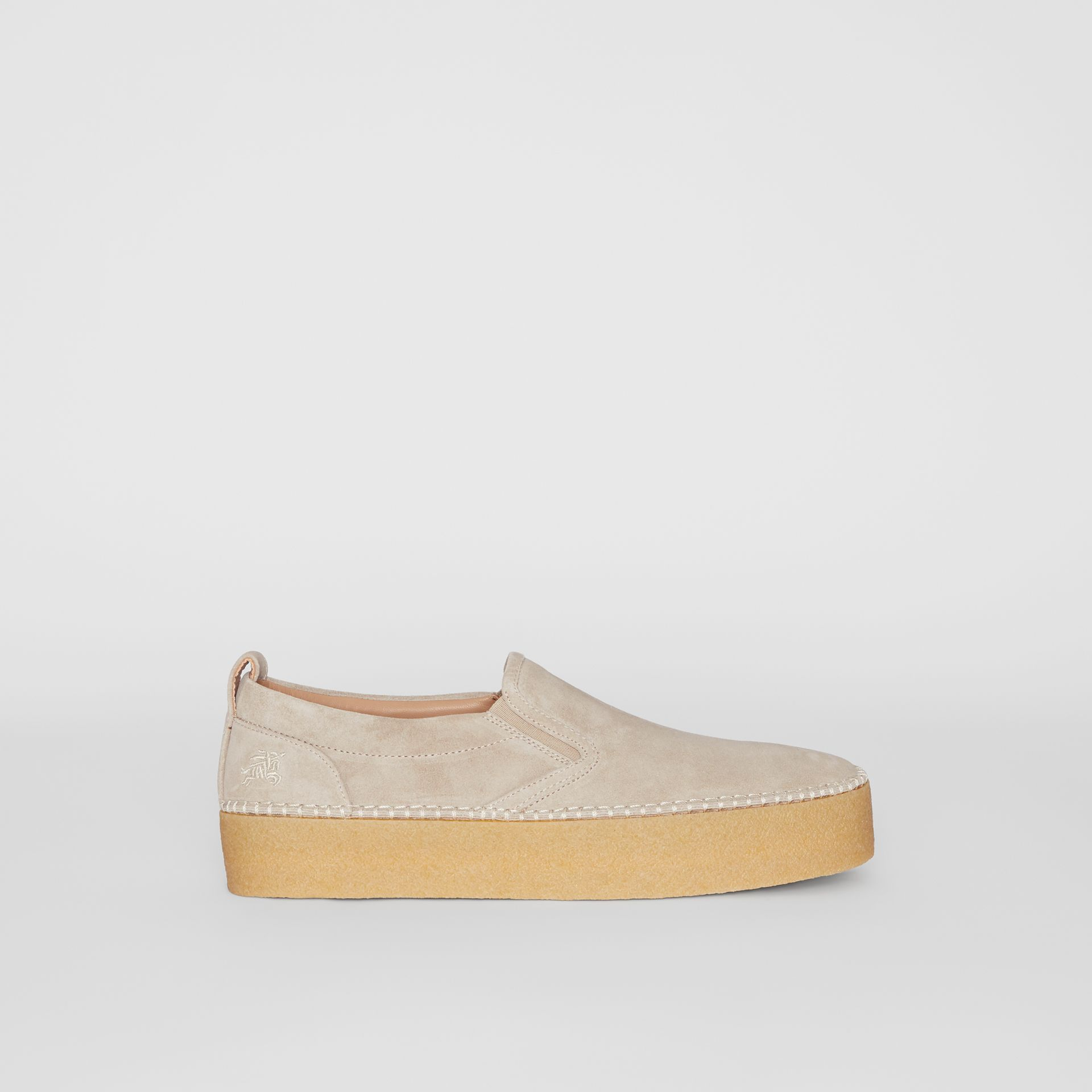 Suede Slip-on Sneakers in Sandy Beige - Men | Burberry - gallery image 5