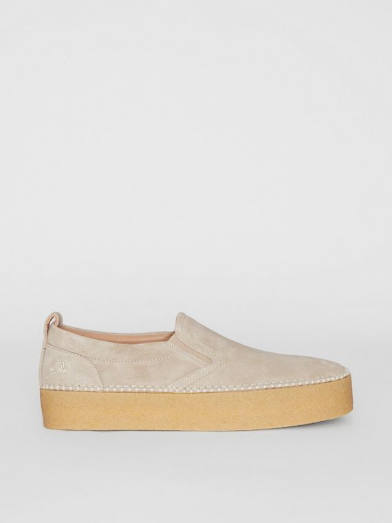 Suede Slip-on Sneakers in Sandy Beige