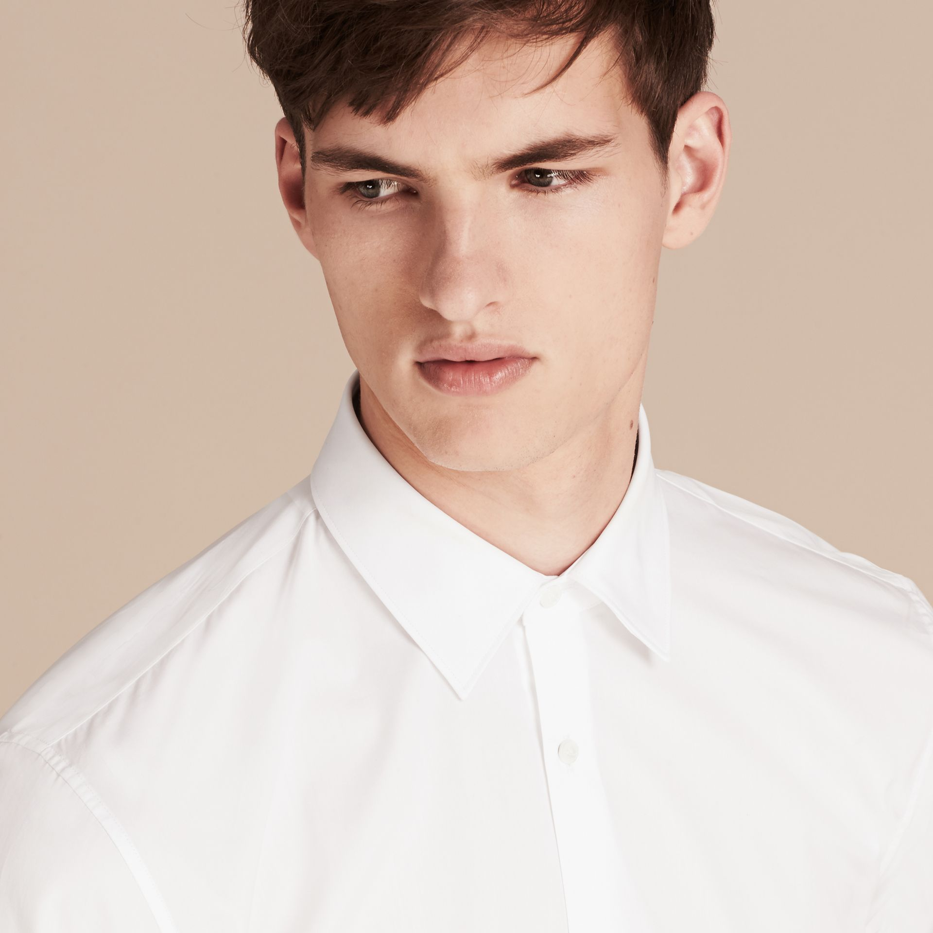 Modern Fit Cotton Poplin Shirt in White - gallery image 5