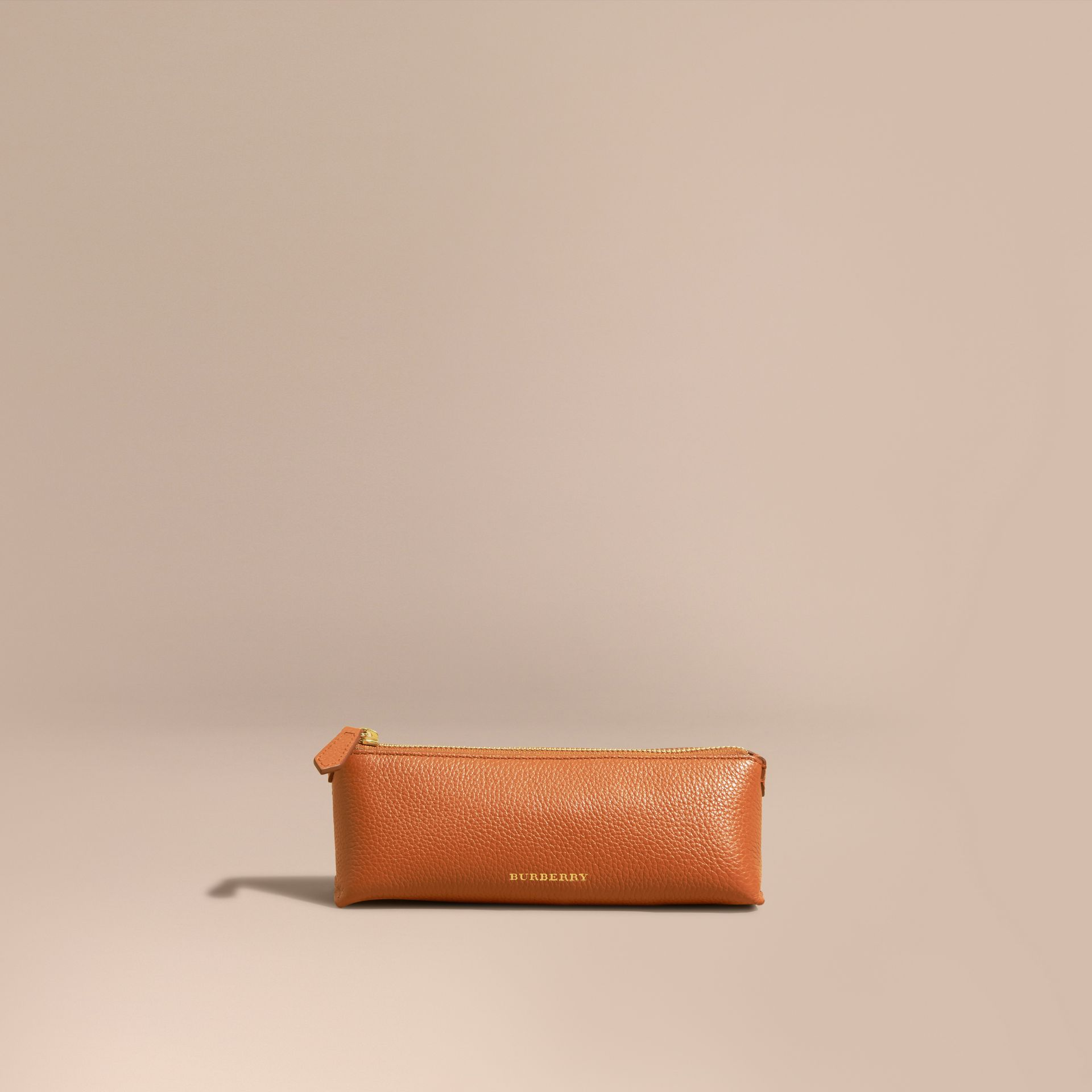 Orange umber Small Grainy Leather Digital Accessory Pouch - gallery image 6
