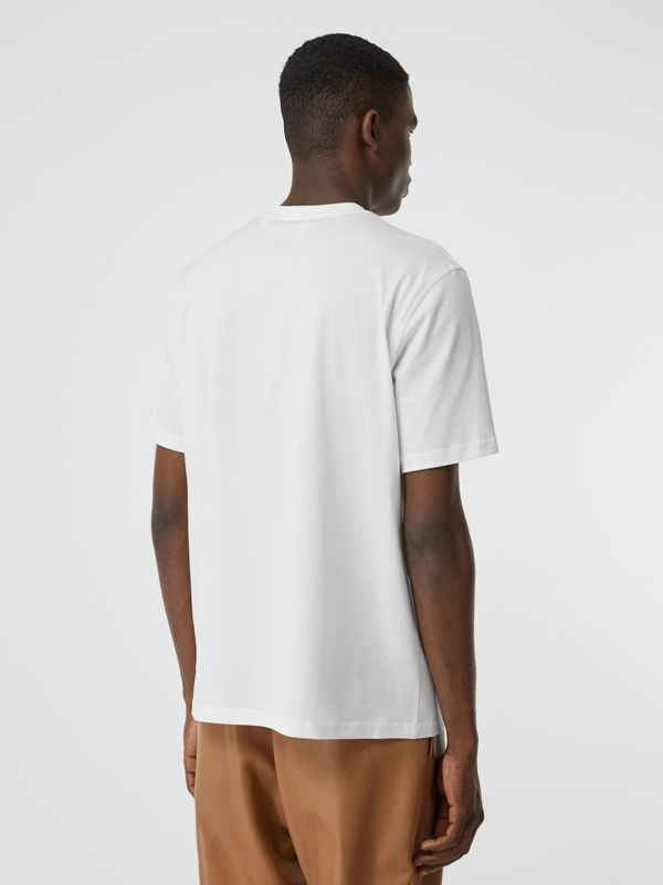 Tape Print Cotton T-shirt in White - Men | Burberry - cell image 2