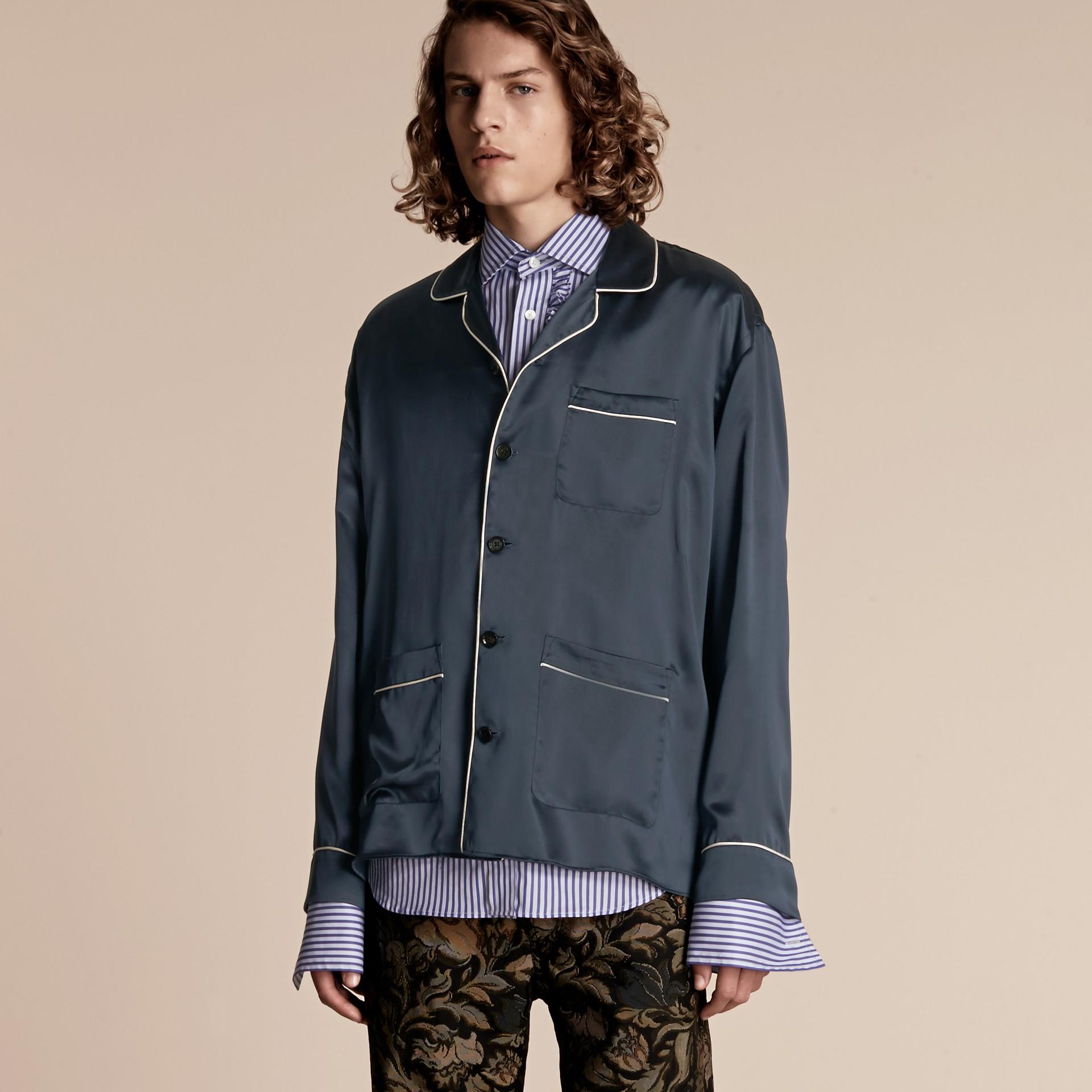 Navy Silk Pyjama-style Shirt - gallery image 1