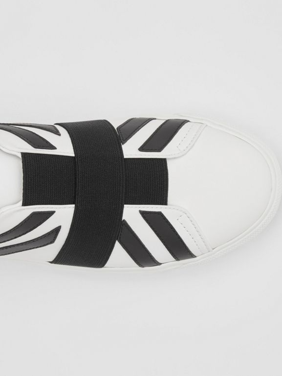Union Jack Motif Slip-on Sneakers in Optic White/black - Women | Burberry Singapore - cell image 1