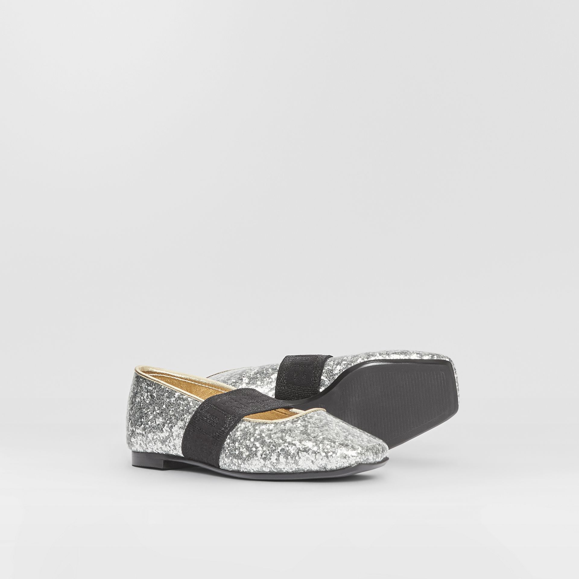 Logo Detail Glittery Flats in Silver - Children | Burberry - gallery image 4