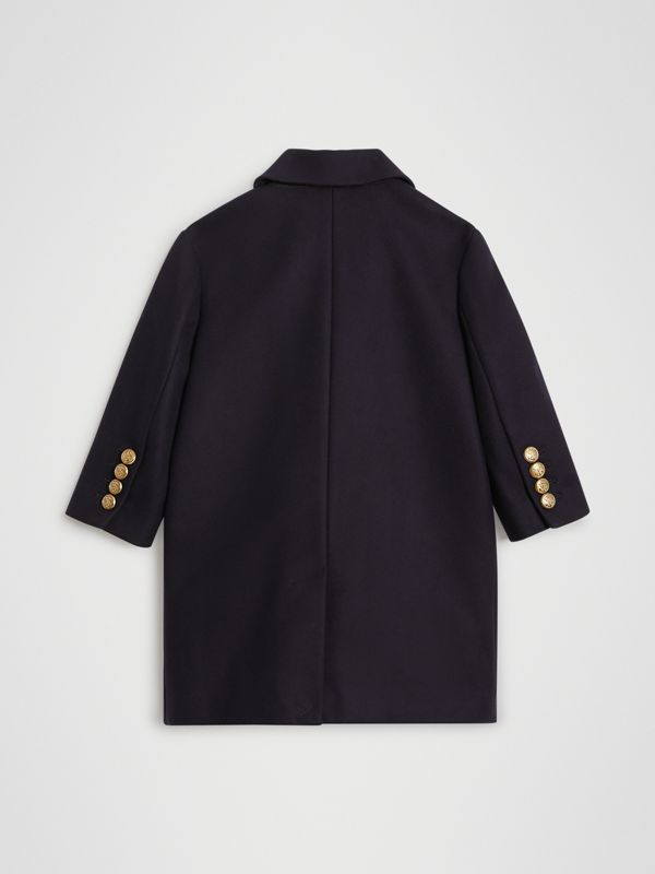 Crested Button Wool Pea Coat in Navy | Burberry - cell image 3