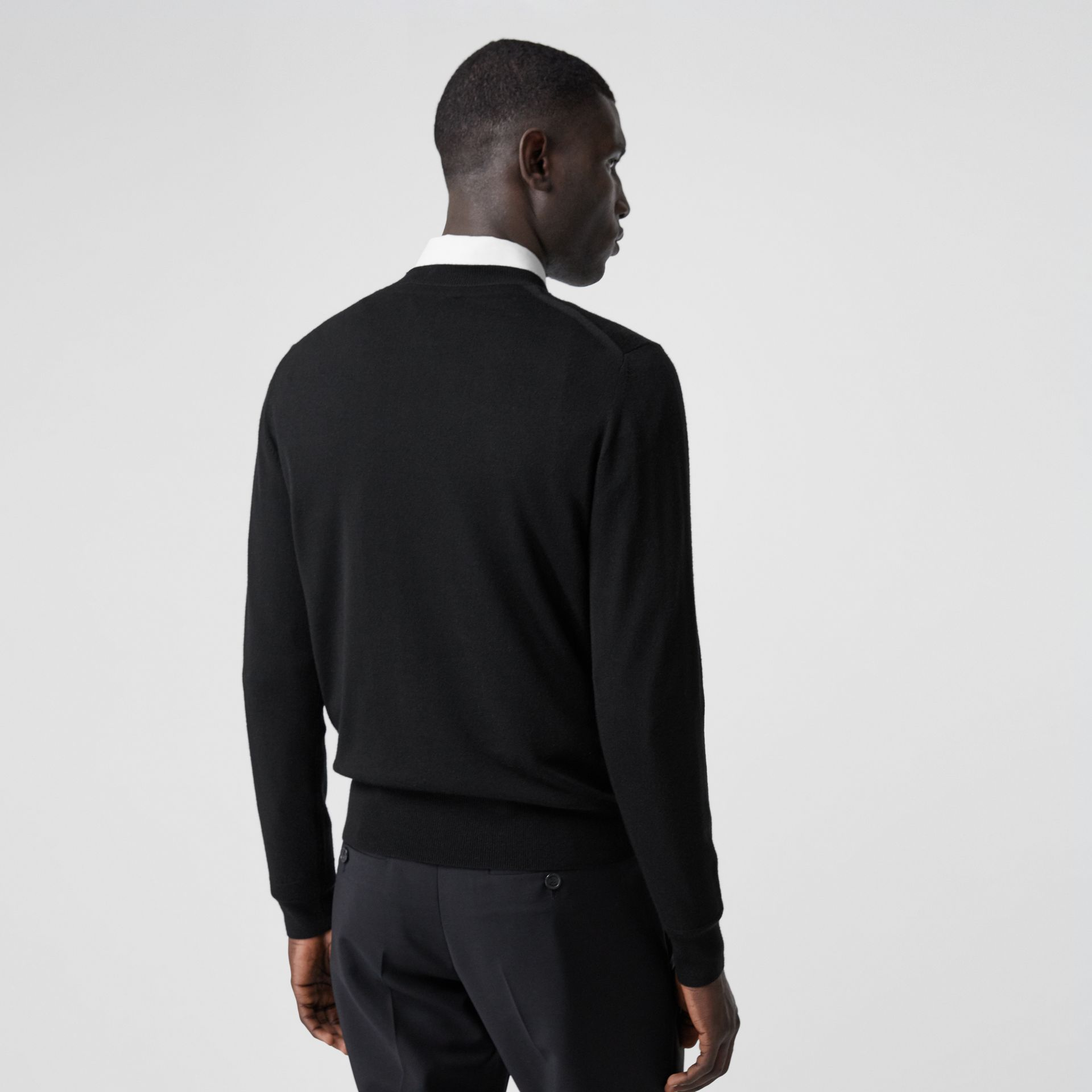 Monogram Motif Merino Wool Sweater in Black - Men | Burberry Australia - gallery image 2