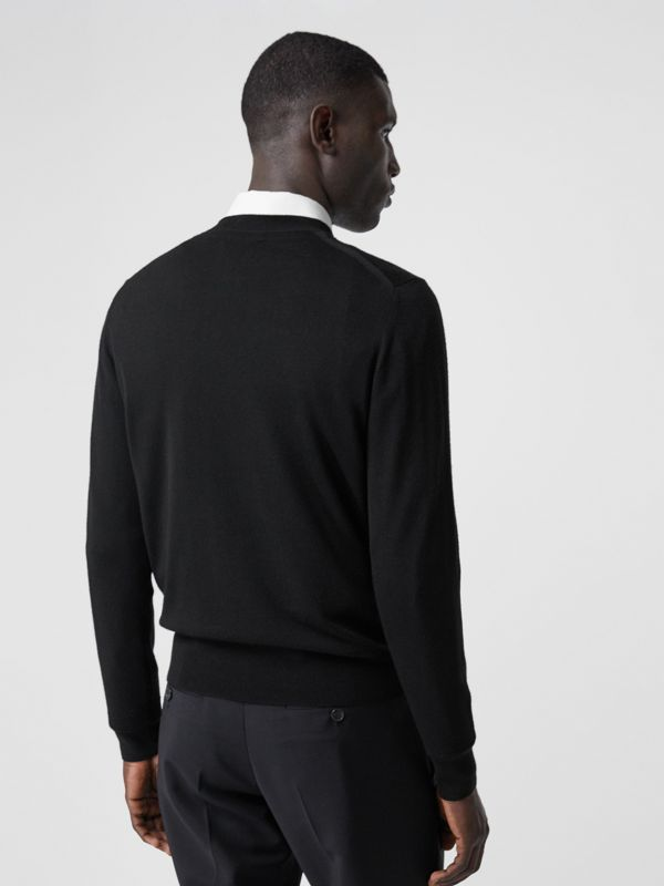 Monogram Motif Merino Wool Sweater in Black - Men | Burberry - cell image 2