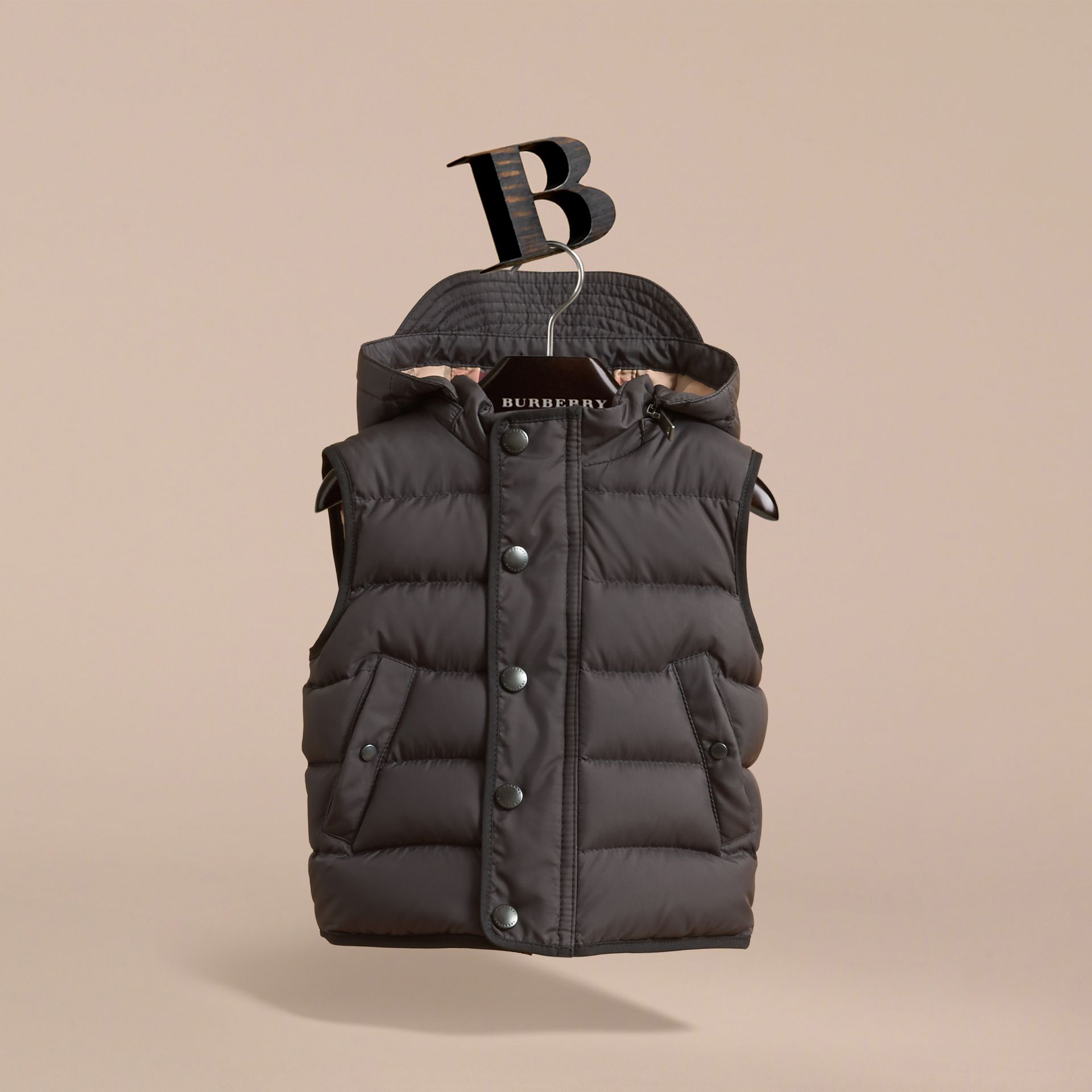 Down-filled Hooded Gilet in Charcoal | Burberry - gallery image 3
