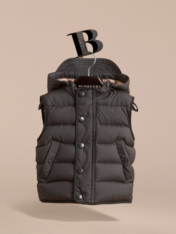 Down-filled Hooded Gilet in Charcoal | Burberry - cell image 2