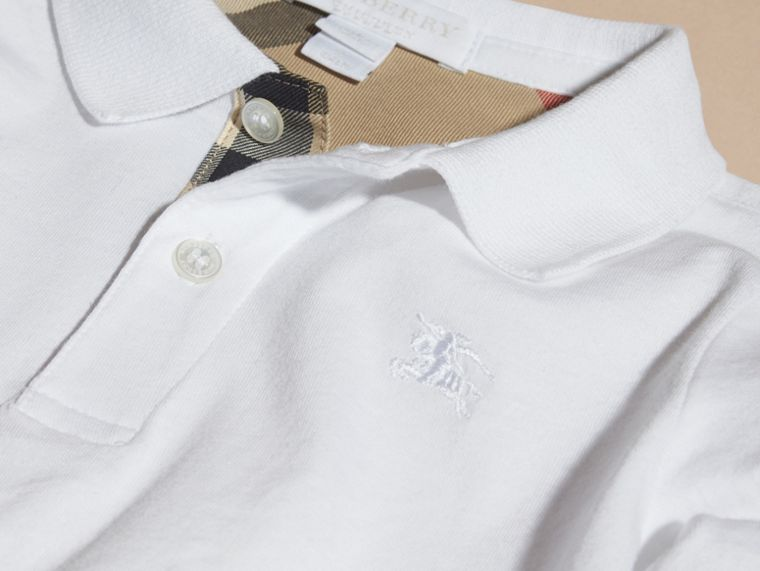 Long-sleeve Cotton Jersey Polo Shirt in White - Boy | Burberry Hong Kong - cell image 1